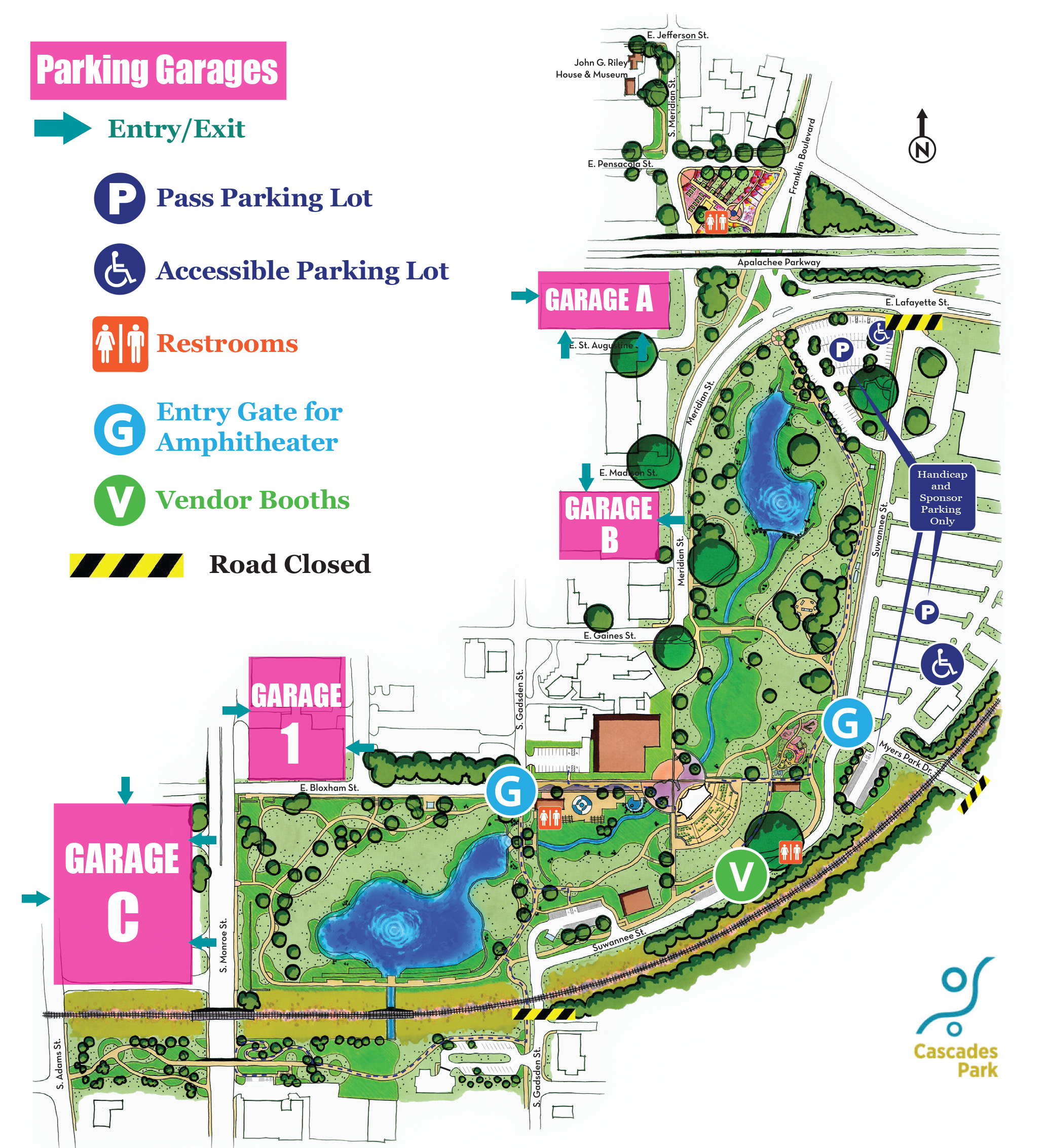 Parking for Events at Capital City Amphitheater at Cascades Park in